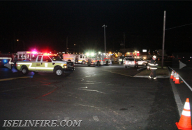 The Staples on Route 1 was used as a staging area for fire units.