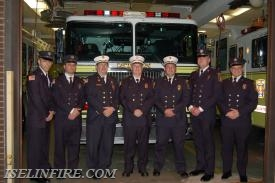 Firematic Officers (L-R): Lieutenant TJ Karlin, Captain Kyle Pirozzoli, Deputy Chief Brian Bennett, Chief Terry Kennedy, Deputy Chief RJ McPartland, Captain Anthony Harland, Lieutenant Ken Creighton.