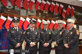 Firematic Officers, L-R: Lieutenant Adam Karlin, Captain Connor Pirozzoli, Deputy Chief Ken Creighton, Deputy Chief Brian Bennett, Chief RJ McPartland (missing: Captain Terry Kennedy and Lieutenant TJ Karlin).