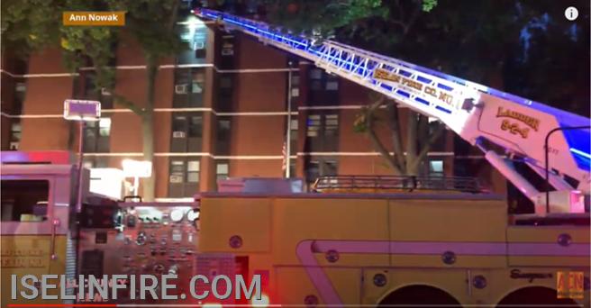 Ladder 9-2-4 set up on the alpha side of the building.
